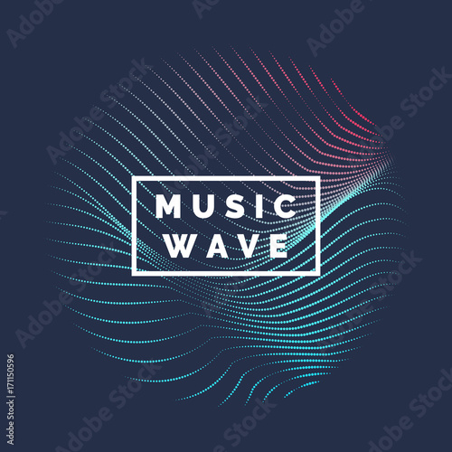 Poster Vector abstract background with a colored dynamic waves, line and particles.