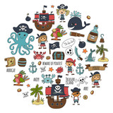 Seamless Pattern Pirate Party For Children Kindergarten Kids Children Drawing Style Illustration Picutre  Pirate Whale Treasure Island Treasure Map Skulls Flag Ship Birthday Party Wall Sticker