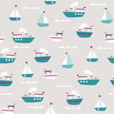 seamless pattern with cute little boats - 171152532