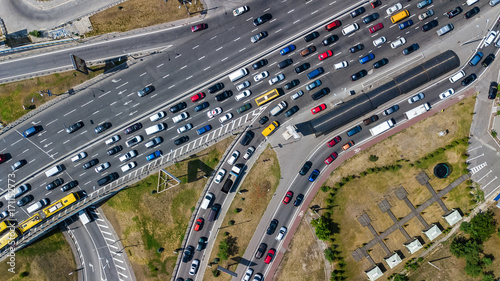 Sticker Aerial top view of road junction from above, automobile traffic and jam of many cars, transportation concept