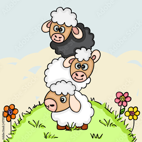 Fotobehang Boerderij Stack of three sheeps on field illustration