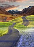 verschlungene Wege - Vier Jahreszeiten Landschaft mit Schweizer Bergwelt - 171157351