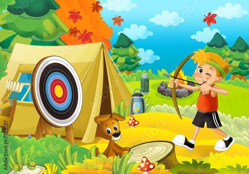 Cartoon scene of camping in the forest - happy and funny boy - with bow and arrows - archer - illustration for children - 171158527