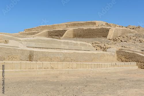Adobe pyramids at Cahuachi, the main ceremonial center of the Nazca culture, Peru