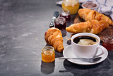 cup of coffee and croissants with fruit jam - 171168157