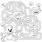 Help bear find path to honey. Labyrinth. Maze game for kids. Black and white vector illustration for coloring book