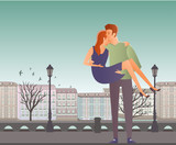 Young couple in love. Man and woman on a romantic date in the street of the old town. A man carries a woman on his hands. Vector illustration.