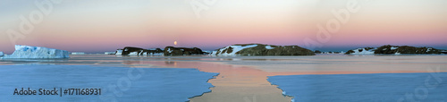 Fotobehang Antarctica Panorama and just air on ice floes, terrain and scenery Antarctic. Sunrise, day, sunset. Shooting with quadrocopter.
