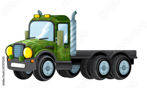 cartoon happy and funny military truck - isolated truck - 171170385