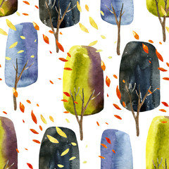 Abstract autumn trees with falling leaves, watercolor seamless pattern.