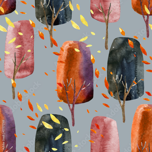 Abstract autumn trees with falling leaves, watercolor seamless pattern. - 171171768