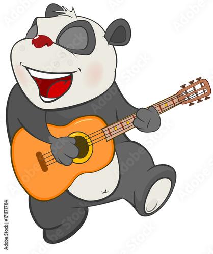 Fotobehang Babykamer Illustration of a Cute Panda Guitarist. Cartoon Character