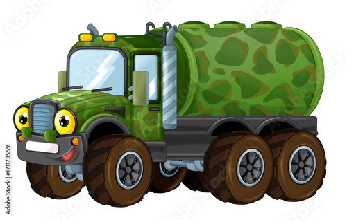 cartoon happy military truck cistern isolated - 171173559