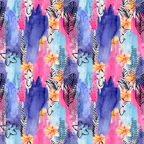 Abstract watercolor and ink doodle shapes seamless pattern. - 171173982