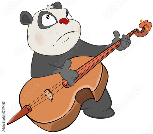 Papiers peints Chambre bébé Illustration of a Cute Panda Violinist Jazz Bassist. Cartoon Character