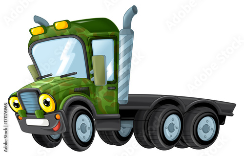 cartoon happy and funny military truck - isolated truck / smiling vehicle  - 171176966