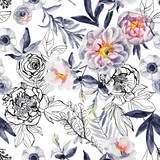 Watercolor and ink doodle flowers, leaves, weeds seamless pattern. - 171177163