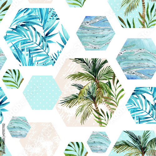 Cotton fabric Abstract summer geometric hexagon shapes seamless pattern