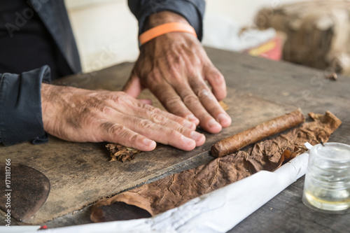 In de dag Havana Cuban master showing how to hand roll a cigar
