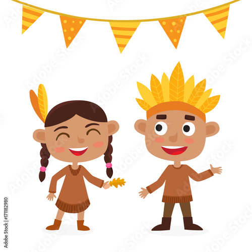 Happy thanksgiving day. Indian boy and girl isolated on white.