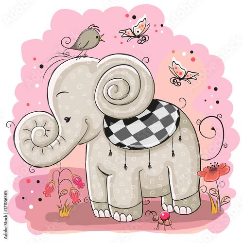 Fridge magnet Cute Cartoon Elephant and a bird