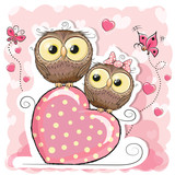 Two Cute Cartoon Owls and heart - 171186538