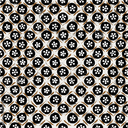 Fotobehang Abstract met Penseelstreken seamless background pattern, with circles/dots, strokes and splashes, black and white