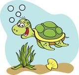 Cartoon illustration of a sea turtle swimming underwater. - 171192706