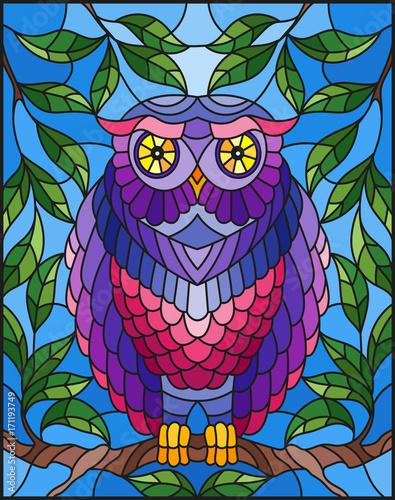 ilustracja-w-witrazu-styl-z-bajecznie-kolorowym-sowy-obsiadaniem-na-galaz-przeciw-niebu