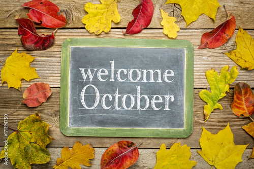 Welcome October blackboard sign