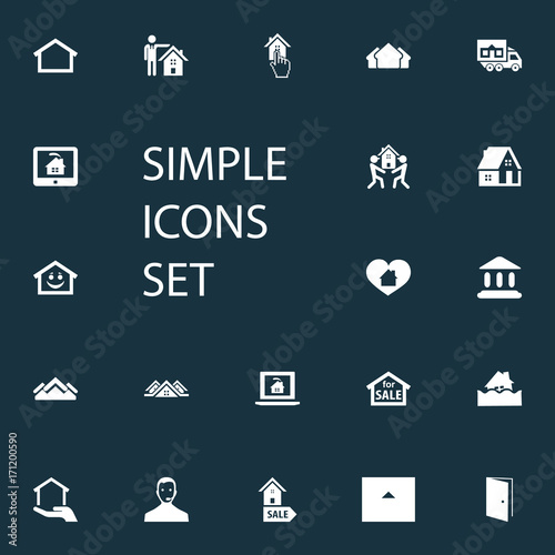 Vector Illustration Set Of Simple Property Icons. Elements Online Property, Residence, Real Estate Database And Other Synonyms Selection, Cargo And Pointer.