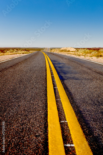 Foto op Plexiglas Cappuccino Asphalt with yellow lines at La Pampa dessert in Patagonia, Argentina