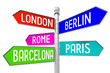 Signpost with 5 arrows - capital cities - London, Berlin, Rome, Paris, Barcelona.