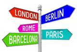 Signpost with 5 arrows - capital cities - London, Berlin, Rome, Paris, Barcelona.