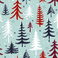 Seamless pattern with Christmas tree. Winter forest. Vector background. © nataliajudina