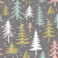 Seamless pattern with Christmas tree. Stylized winter forest. Vector background. © nataliajudina