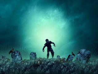 Zombie Grave Halloween Background