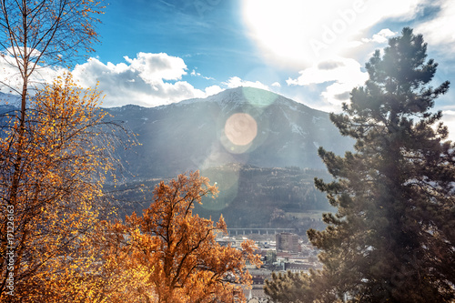 Fotobehang Grijs Beautiful bright autumn mountain landscape