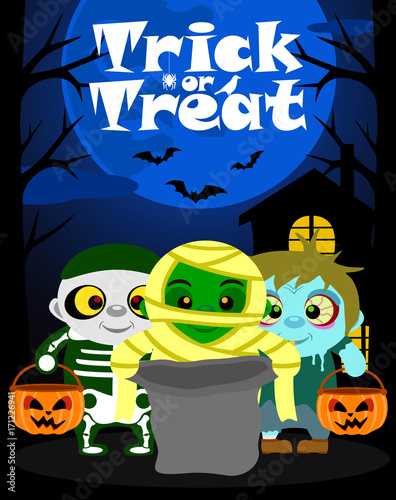 Halloween background with kids trick or treating in Halloween costume