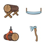 Log on supports, two-hand saw, ax, raising logs. Sawmill and timber set collection icons in cartoon style vector symbol stock illustration web. - 171228337