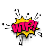 wtf, fuck, danm lettering. Comics book balloon. Bubble icon speech phrase. Cartoon font label tag expression. Comic text sound effects. Sounds vector illustration.