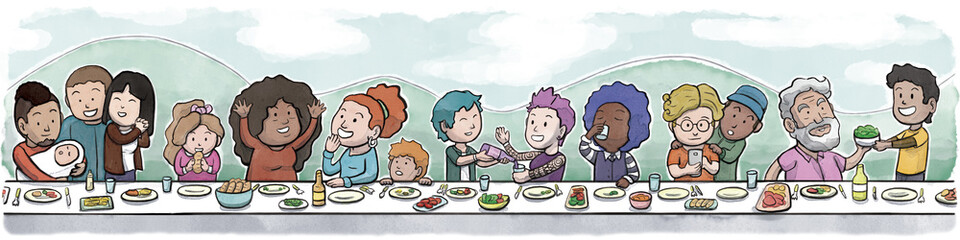 Group of Family and Friends Eating at a large Dining Table (Day Background) © Guilherme Yukio