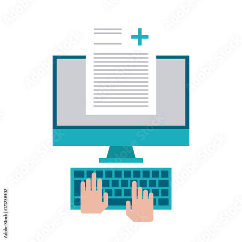 hands typing medical history on computer icon image vector illustration design