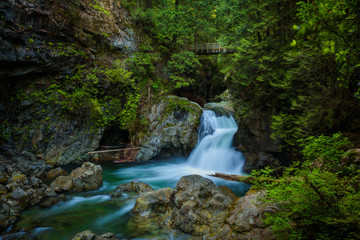 Twin Falls in Lynn Canyon Park, North Vancouver, Canada