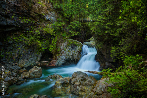 Twin Falls in Lynn Canyon Park, North Vancouver, Canada - 171242535