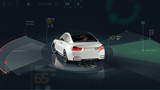 Smart car sensors - futuristic concept (with grunge overlay) - 3D illustration