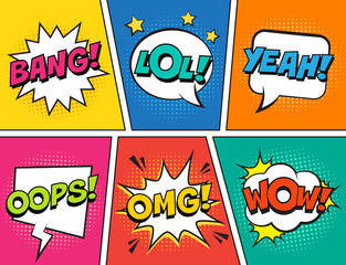 Retro comic speech bubbles set on colorful background. Expression text LOL, OMG, WOW, YEAH, OOPS, BANG. Vector illustration, vintage design, pop art style.