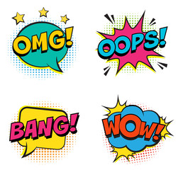 Retro colorful comic speech bubbles set with colorful halftone shadows on white background. Expression text BANG, OMG, WOW, OOPS. Vector illustration, vintage design, pop art style.