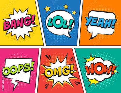 Fotobehang Pop Art Retro comic speech bubbles set on colorful background. Expression text LOL, OMG, WOW, YEAH, OOPS, BANG. Vector illustration, vintage design, pop art style.