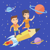 Little caucasian children riding a pencil shaped as a space shuttle. Boy and girl enjoying a ride on a pencil rocket in space with planets and stars. Vector sketch cartoon illustration. Square layout.
